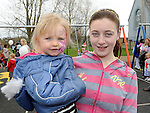 Alisha Harmon and Michaela McCourt pictured at the opening of the new playground in Dunleer. Photo: Colin Bell/pressphotos.ie
