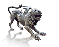 """Etruscan bronce statue of the mythical Chimera known as the  """"Chimera of Arezzo"""" from the St Lorentino Gate of Arezzo, made end of 5th - early 4th century B.C, inv no 1,  National Archaeological Museum Florence, Italy , white background"""
