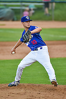 Ogden Raptors relief pitcher Corey Copping (10) delivers a pitch to the plate against the Great Falls Voyagers in Pioneer League action at Lindquist Field on July 16, 2015 in Ogden, Utah. Ogden defeated Great Falls 5-2.  (Stephen Smith/Four Seam Images)