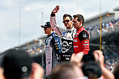 May 28th Indianapolis Speedway, Indiana, USA;  Graham Rahal, driver of the #15 Rahal Letterman Lanigan Racing Honda, waves to fans during driver introductions before the start of the Indianapolis 500 on May 28th, 2017, at the Indianapolis Motor Speedway in Indianapolis, Indiana.