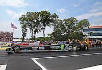 Jun 11, 2016; Englishtown, NJ, USA; NHRA top fuel driver Brittany Force during qualifying for the Summernationals at Old Bridge Township Raceway Park. Mandatory Credit: Mark J. Rebilas-USA TODAY Sports