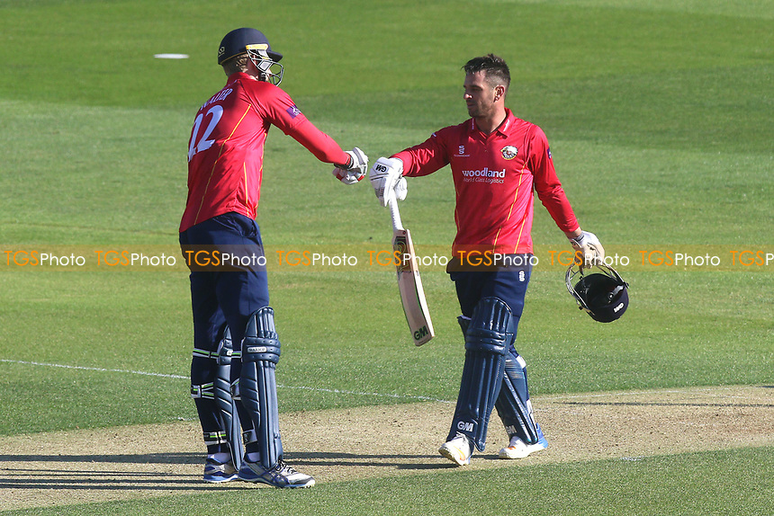 Paul Walter of Essex congratulates Ryan ten Doeschate (R) on his century during Essex Eagles vs Sussex Sharks, Royal London One-Day Cup Cricket at The Cloudfm County Ground on 10th May 2017