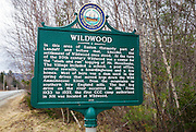 Site of the Wildwood settlement along Route 112 in the town of Easton, New Hampshire. Wildwood was a logging settlement during the 20th century along the Wild Ammonoosuc River. The first Civilian Conservation Corps camp authorized in New Hampshire was also located at Wildwood.