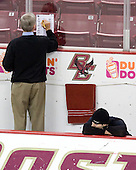 Jerry York (BC - Head Coach), Matt Lombardi (BC - 24) - The Boston College Eagles defeated the visiting Northeastern University Huskies 7-1 on Friday, March 9, 2007, to win their Hockey East quarterfinals matchup in two games at Conte Forum in Chestnut Hill, Massachusetts.