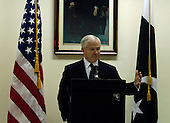 Islamabad, Pakistan - February 12, 2007 -- United States Secretary of Defense Robert Gates conducts a press conference after meeting with President Pervez Musharraf of Pakistan, in Islamabad, Pakistan, Monday, February 12, 2007.  <br /> Credit: Cherie A. Thurlby-DoD via CNP