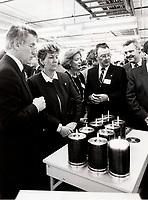 Lise Bacon lors de l'Ouverture de l' usine de CD Disc Americ, fevrier 1987<br /> <br /> Photo : Pierre Roussel - AQP