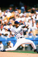Chan-Ho Park of the Los Angeles Dodgers during a game at Dodger Stadium circa 1999 in Los Angeles, California. (Larry Goren/Four Seam Images)