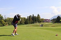 Shanshan Feng (CHN) tees off the par3 5th tee during Thursday's Round 1 of The Evian Championship 2018, held at the Evian Resort Golf Club, Evian-les-Bains, France. 13th September 2018.<br /> Picture: Eoin Clarke | Golffile<br /> <br /> <br /> All photos usage must carry mandatory copyright credit (© Golffile | Eoin Clarke)