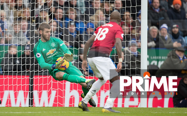 Goalkeeper David De Gea of Man Utd pulls off a save during the Premier League match between Leicester City and Manchester United at the King Power Stadium, Leicester, England on 3 February 2019. Photo by Andy Rowland.