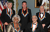 Washington, DC - December 5, 2009 -- 2009 Kennedy Center honorees pose for the formal group photo following the Artist's Dinner at the United States Department of State in Washington, D.C. on Saturday, December 5, 2009.  Front row from left to right: Grace Bumbry and Dave Brubeck.  Back row from left to right: Robert De Niro, Bruce Springsteen, Mel Brooks..Credit: Ron Sachs - Pool via CNP