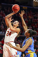College Park, MD - March 25, 2019: Maryland Terrapins forward Stephanie Jones (24) shoots a layup during game between UCLA and Maryland at  Xfinity Center in College Park, MD.  (Photo by Elliott Brown/Media Images International)
