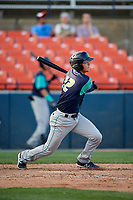 Lynchburg Hillcats shortstop Luke Wakamatsu (12) at bat during the first game of a doubleheader against the Frederick Keys on June 12, 2018 at Nymeo Field at Harry Grove Stadium in Frederick, Maryland.  Frederick defeated Lynchburg 2-1.  (Mike Janes/Four Seam Images)