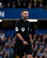 Referee Michael Oliver during the Premier League match between Chelsea and Liverpool at Stamford Bridge, London, England on 22 September 2019. Photo by Liam McAvoy / PRiME Media Images.