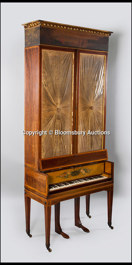 BNPS.co.uk (01202 558833)<br /> Pic: BloomsburyAuctions/BNPS<br /> <br /> An upright grand piano by Muzio Clementi estimate £5,000.<br /> <br /> No strings attached - Worlds finest collection of historic piano's up for sale…<br /> <br /> An incredible collection of historic pianos and musical instruments that have been on display in a grand country home for four decades are expected to fetch more than half a million pounds at auction.<br /> <br /> The array of antique pianos, clavichords, harpsichords and other instruments, which span 350 years of music history, were accumulated by concert pianist Richard Burnett and stored at Finchcocks, his baroque house in idyllic Kent countryside near Tunbridge Wells.<br /> <br /> More than 70 keyboard instruments, including some of the best playing instruments in the world, are up for sale, with some expected to fetch up to £70,000.<br /> <br /> The sale by Dreweatts Auctions in Newbury, Berkshire, is on May 11.