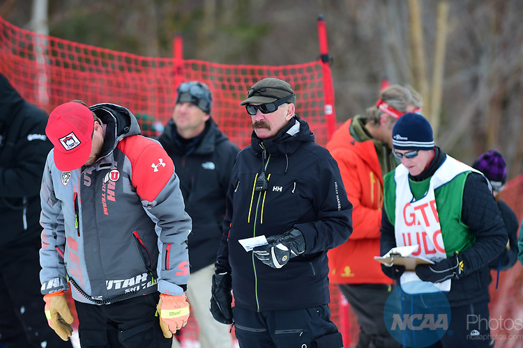 FRANCONIA, NH - MARCH 10:   Technical Delegate Ted Sutton observes the action during the Men's Slalom event at the Division I Men's and Women's Skiing Championships held at Cannon Mountain on March 10, 2017 in Franconia, New Hampshire. (Photo by Gil Talbot/NCAA Photos via Getty Images)