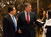 "CNBC ""Squawk Box"" Co-anchor Joe Kernen and Trump campaign financial advisor Anthony Scaramucci are seen in the lobby of Trump Tower in New York, NY, USA on December 16, 2016.<br /> Credit: Albin Lohr-Jones / Pool via CNP"