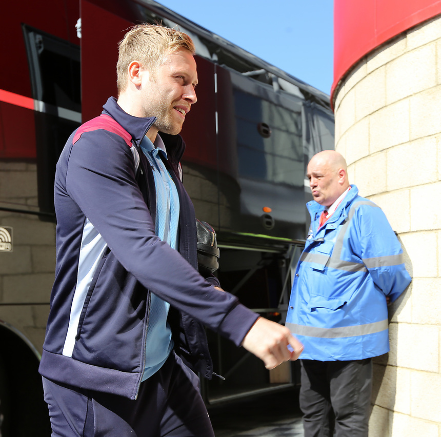 Burnley's Scott Arfield heads into the ground<br /> <br /> Photographer David Shipman/CameraSport<br /> <br /> The Premier League - Middlesbrough v Burnley - Saturday 8th April 2017 - Riverside Stadium - Middlesbrough<br /> <br /> World Copyright &copy; 2017 CameraSport. All rights reserved. 43 Linden Ave. Countesthorpe. Leicester. England. LE8 5PG - Tel: +44 (0) 116 277 4147 - admin@camerasport.com - www.camerasport.com