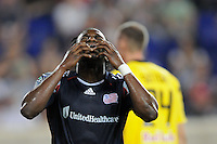 Kenny Mansally (7) of the New England Revolution reacts to a missed scoring opportunity. The New York Red Bulls defeated the New England Revolution 2-1 during a Major League Soccer (MLS) match at Red Bull Arena in Harrison, NJ, on June 10, 2011.