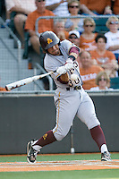 Arizona State Sun Devil third baseman RIccio Torrez #30 hits a first inning home run against the Texas Longhorns in NCAA Tournament Super Regional Game #3 on June 12, 2011 at Disch Falk Field in Austin, Texas. (Photo by Andrew Woolley / Four Seam Images)