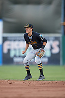 West Virginia Black Bears second baseman Tristan Gray (2) during a game against the Batavia Muckdogs on June 26, 2017 at Dwyer Stadium in Batavia, New York.  Batavia defeated West Virginia 1-0 in ten innings.  (Mike Janes/Four Seam Images)