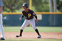 Pittsburgh Pirates center fielder Michael de la Cruz (37) leads off second base during a minor league Extended Spring Training intrasquad game on April 1, 2017 at Pirate City in Bradenton, Florida.  (Mike Janes/Four Seam Images)