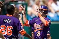 Clemson's Jeff Shaus in Game 4 of the NCAA Division One Men's College World Series on Monday June 21st, 2010 at Johnny Rosenblatt Stadium in Omaha, Nebraska.  (Photo by Andrew Woolley / Four Seam Images)