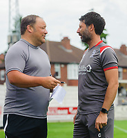 Lincoln United manager Steve Housham, left, and Lincoln City manager Danny Cowley<br /> <br /> Photographer Chris Vaughan/CameraSport<br /> <br /> Football Pre-Season Friendly (Community Festival of Lincolnshire) - Lincoln City v Lincoln United - Saturday 6th July 2019 - The Martin & Co Arena - Gainsborough<br /> <br /> World Copyright © 2018 CameraSport. All rights reserved. 43 Linden Ave. Countesthorpe. Leicester. England. LE8 5PG - Tel: +44 (0) 116 277 4147 - admin@camerasport.com - www.camerasport.com