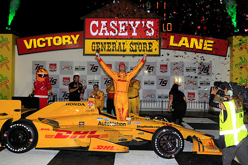 17-18 July, 2015, Newton, Iowa USA<br /> Ryan Hunter-Reay celebrates in victory lane<br /> ©2015 Phillip Abbott<br /> LAT Photo USA