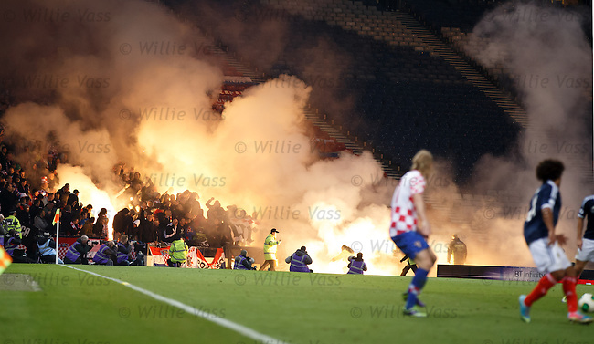 Croatia fans with flares