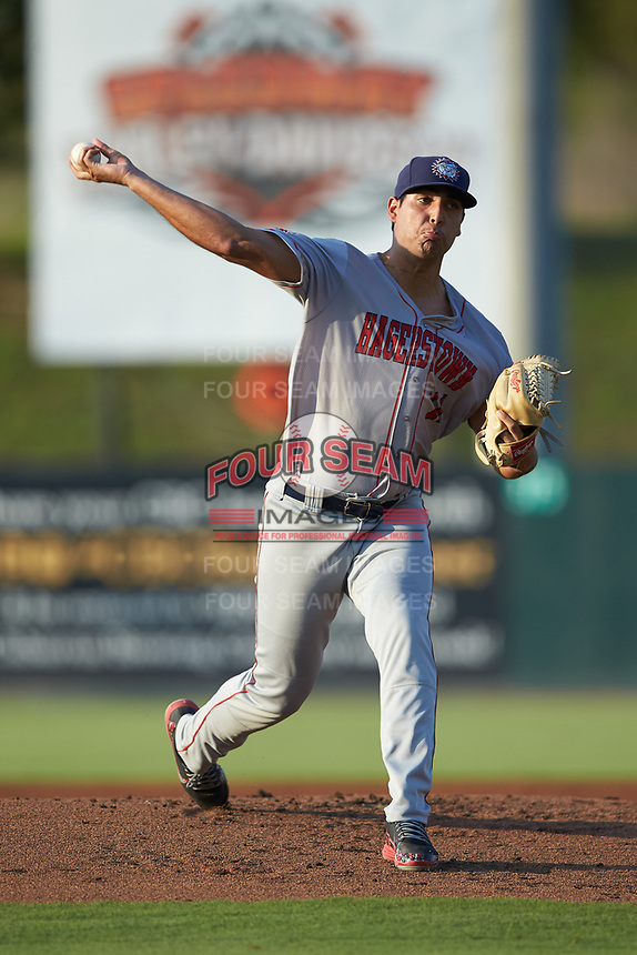 Hagerstown Suns starting pitcher Tomas Alastre (11) in action against the Kannapolis Intimidators at Kannapolis Intimidators Stadium on July 16, 2018 in Kannapolis, North Carolina. The Intimidators defeated the Suns 7-6. (Brian Westerholt/Four Seam Images)