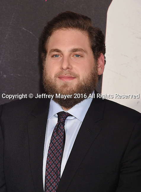 HOLLYWOOD, CA - AUGUST 15: Actor Jonah Hill arrives at the Premiere Of Warner Bros. Pictures' 'War Dogs' at TCL Chinese Theatre on August 15, 2016 in Hollywood, California.