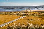 Seaview Beach private boardwalk and beach pavilion. Long Island Sound.