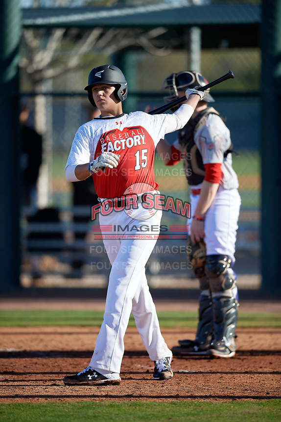 Bradley Wilson during the Under Armour All-America Pre-Season Tournament, powered by Baseball Factory, on January 19, 2019 at Sloan Park in Mesa, Arizona.  Bradley Wilson is a third baseman / right handed pitcher from Irwinton, Georgia who attends West Laurens High School and is committed to Mississippi State.  (Mike Janes/Four Seam Images)
