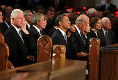 Boston, MA - August 29, 2009 -- Former President Bill Clinton (L-R), Secretary of State Hillary Rodham Clinton, former president George W. Bush and his wife Barbara, President Barack Obama and first lady Michelle Obama, Vice President Joseph Biden and hsi wife Jill, former first lady Rosalynn Carter and former President Jimmy Carter wait for the services to begin at. during funeral services for U.S. Senator Edward Kennedy at the Basilica of Our Lady of  Perpetual Help in Boston, Massachusetts August 29, 2009.  Senator Kennedy died late Tuesday after a battle with cancer.  .Credit: Brian Snyder- Pool via CNP