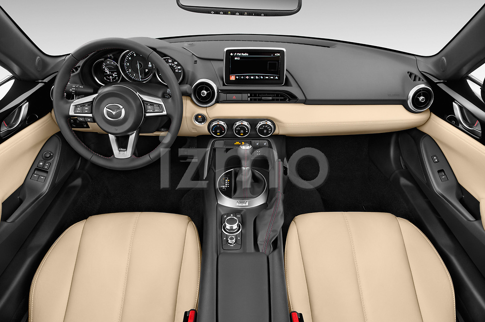Stock photo of straight dashboard view of a 2019 Mazda MX-5 Miata Grand Touring Auto 2 Door Convertible