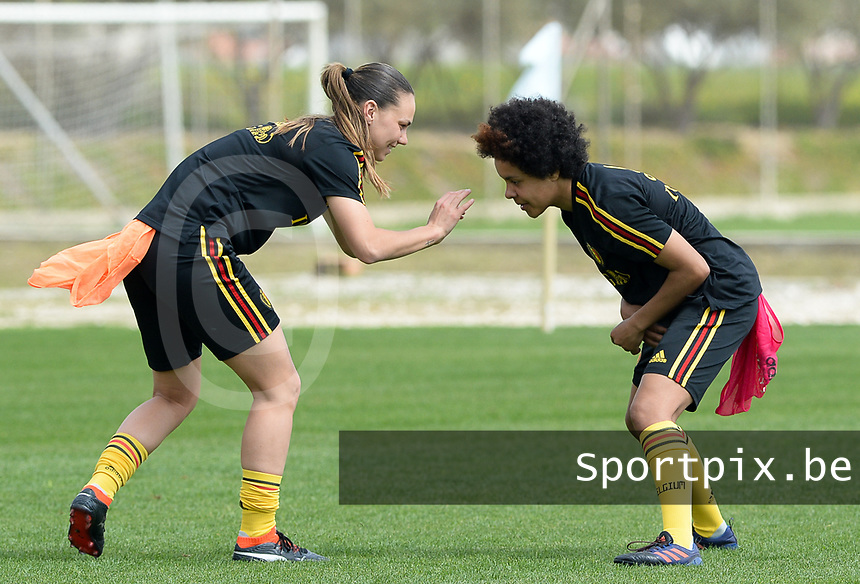 20180306 - LARNACA , CYPRUS :  Belgian Jassina Blom and Kassandra Missipo (r) pictured during a Matchday -1 training from The Belgian Red Flames prior to their game against South Africa , on tuesday 6 March 2018 at the Alpha Sports Grounds in Larnaca , Cyprus . This will be the final game for Belgium during the Cyprus Womens Cup for a battle for the 5th place , a prestigious women soccer tournament as a preparation on the World Cup 2019 qualification duels. PHOTO SPORTPIX.BE | DAVID CATRY