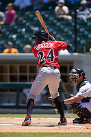 Keon Broxton (24) of the Indianapolis Indians at bat against the Charlotte Knights at BB&T BallPark on June 21, 2015 in Charlotte, North Carolina.  The Knights defeated the Indians 13-1.  (Brian Westerholt/Four Seam Images)