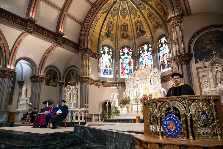 Bamshad Mobasher, Faculty Council president, addresses those in attendance during the 120th DePaul University Convocation on Thursday, August 31, 2017, at St. Vincent de Paul Parish Church. A. Gabriel Esteban, Ph.D., president of DePaul University, and Marten denBoer, provost, provided remarks, and many faculty and staff were recognized with annual awards including: Excellence in Teaching, Spirit of Inquiry, Excellence in Public Service, Vincent de Paul Professorship, Spirit of DePaul, Staff Quality Service, Gerald Paetsch Academic Advising and faculty promotion and tenure. (DePaul University/Jeff Carrion)