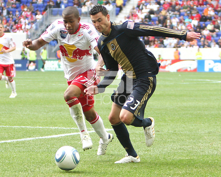 Nick Zimmerman #23 of the Philadelphia Union races after the ball with Jeremy Hall #17 of the New York RedBulls during a MLS  match on April 24 2010, at RedBull Arena, in Harrison, New Jersey. RedBulls won 2-1.