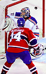 23 January 2010: New York Rangers' goaltender Matt Zaba gives up a third period goal to Montreal Canadiens center Tomas Plekanec at the Bell Centre in Montreal, Quebec, Canada. The Canadiens shut out the Rangers 6-0. Mandatory Credit: Ed Wolfstein Photo