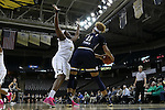 18 February 2016: Wake Forest's Keyonna Allen (21) defends against Notre Dame's Brianna Turner (11). The Wake Forest University Demon Deacons hosted the University of Notre Dame Fighting Irish at Lawrence Joel Veterans Memorial Coliseum in Winston-Salem, North Carolina in a 2015-16 NCAA Division I Women's Basketball game. Notre Dame won the game 86-52.