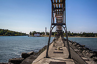 TheSturgeon Bay Canal Light was built in 1899 and is 98 feet tall and is an active navagation aid, which is not open to the public.
