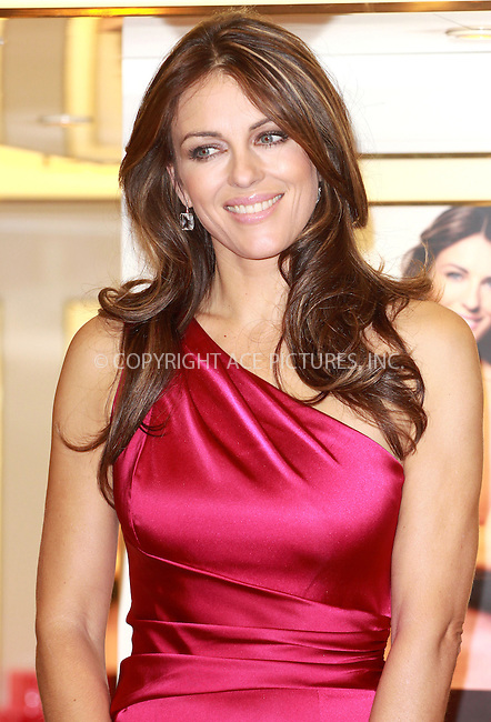 WWW.ACEPIXS.COM . . . . .  ..... . . . . US SALES ONLY . . . . .....October 19 2010, London....Elizabeth Hurley at a signing of the Estee Lauder Pink Ribbon Collection to raise money for Breast Cancer Awareness at Harrods on October 19 2010 in London ....Please byline: FAMOUS-ACE PICTURES... . . . .  ....Ace Pictures, Inc:  ..Tel: (212) 243-8787..e-mail: info@acepixs.com..web: http://www.acepixs.com