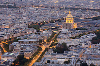 Les Invalides, night, from Tour Montparnasse, Paris, France