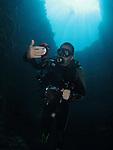 Blue Hole, Palau -- Diver inside the Blue Hole.