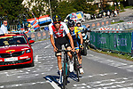 Marc Hirschi (SUI) out front during the Men U23 Road Race of the 2018 UCI Road World Championships running 179.5km from Wattens to Innsbruck, Innsbruck-Tirol, Austria 2018. 28th September 2018.<br /> Picture: Innsbruck-Tirol 2018/BettiniPhoto | Cyclefile<br /> <br /> <br /> All photos usage must carry mandatory copyright credit (© Cyclefile | Innsbruck-Tirol 2018/BettiniPhoto)