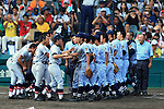 Two team group, AUGUST 20, 2015 - Baseball : The players of Tokai University Sagami shake hands with the palyers of Sendai Ikuei after the Japanese High School Baseball Championship final match Tokai University Sagami 10-6 Sendai Ikuei at Hanshin Koshien Stadium in Nishinomiya, Hyogo, Japan. (Photo by Katsuro Okazawa/AFLO)