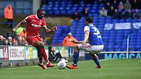 Nottingham Forest's Tendayi Darikwa battles with  Ipswich Town's Myles Kenlock<br /> <br /> Photographer Hannah Fountain/CameraSport<br /> <br /> The EFL Sky Bet Championship - Ipswich Town v Nottingham Forest - Saturday 16th March 2019 - Portman Road - Ipswich<br /> <br /> World Copyright &copy; 2019 CameraSport. All rights reserved. 43 Linden Ave. Countesthorpe. Leicester. England. LE8 5PG - Tel: +44 (0) 116 277 4147 - admin@camerasport.com - www.camerasport.com