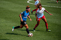 Kansas City, MO - Wednesday August 16, 2017: Desiree Scott, Casey Short during a regular season National Women's Soccer League (NWSL) match between FC Kansas City and the Chicago Red Stars at Children's Mercy Victory Field.