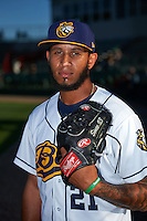 Burlington Bees pitcher Keynan Middleton (21) poses for a photo before a game against the Clinton LumberKings on August 20, 2015 at Community Field in Burlington, Iowa.  Burlington defeated Clinton 3-2.  (Mike Janes/Four Seam Images)